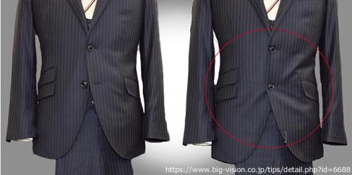 スーツのボタンを全部留めている